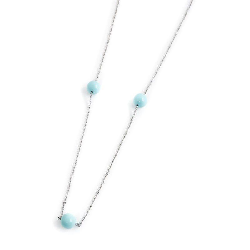 10 mm pearl necklace with tassel Turquoise Marlù