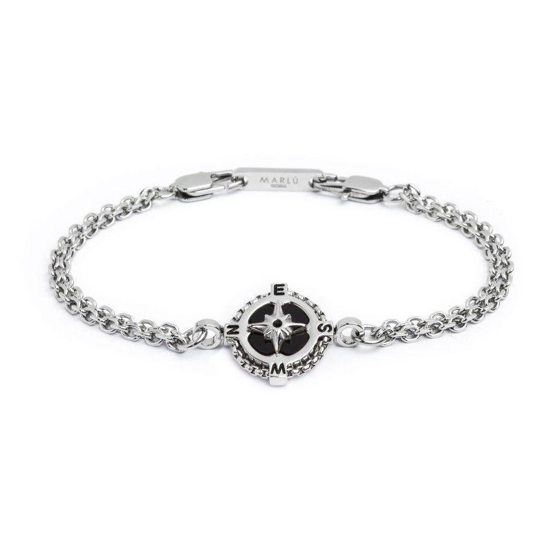 Wind rose double chain bracelet Black Marlù