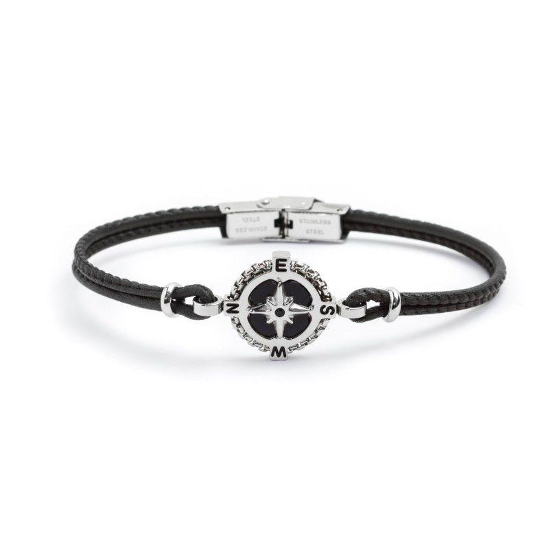 Wind rose leather bracelet Black Marlù