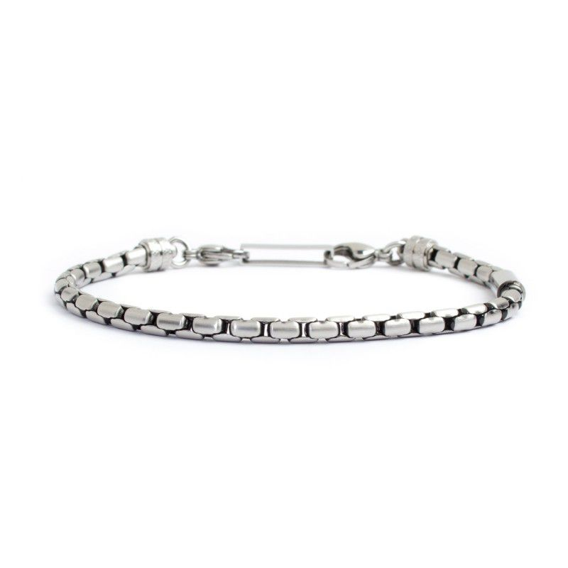 4 mm oval box steel chain bracelet Burnished Marlù