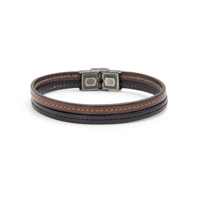 Black / brown leather bracelet Brown Marlù