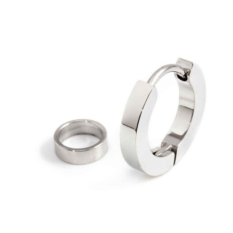 Steel single earring with 16 mm circle Steel Marlù