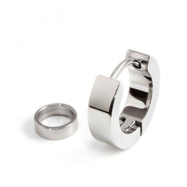 Single earring steel circle 14 mm - th. 2.3 mm Polished steel Marlù
