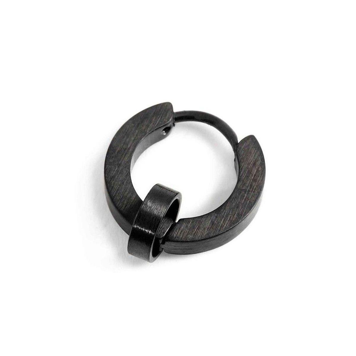 Single earring steel circle 14 mm - th. 2.3 mm Black Marlù