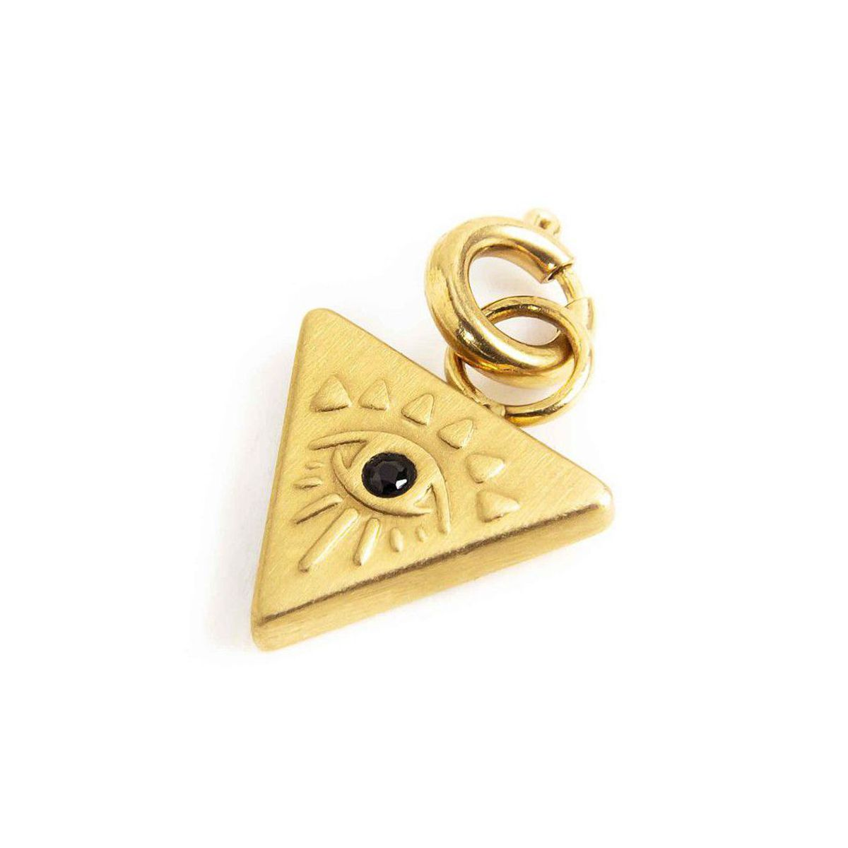 Triangle steel charm with eye Gold Marlù