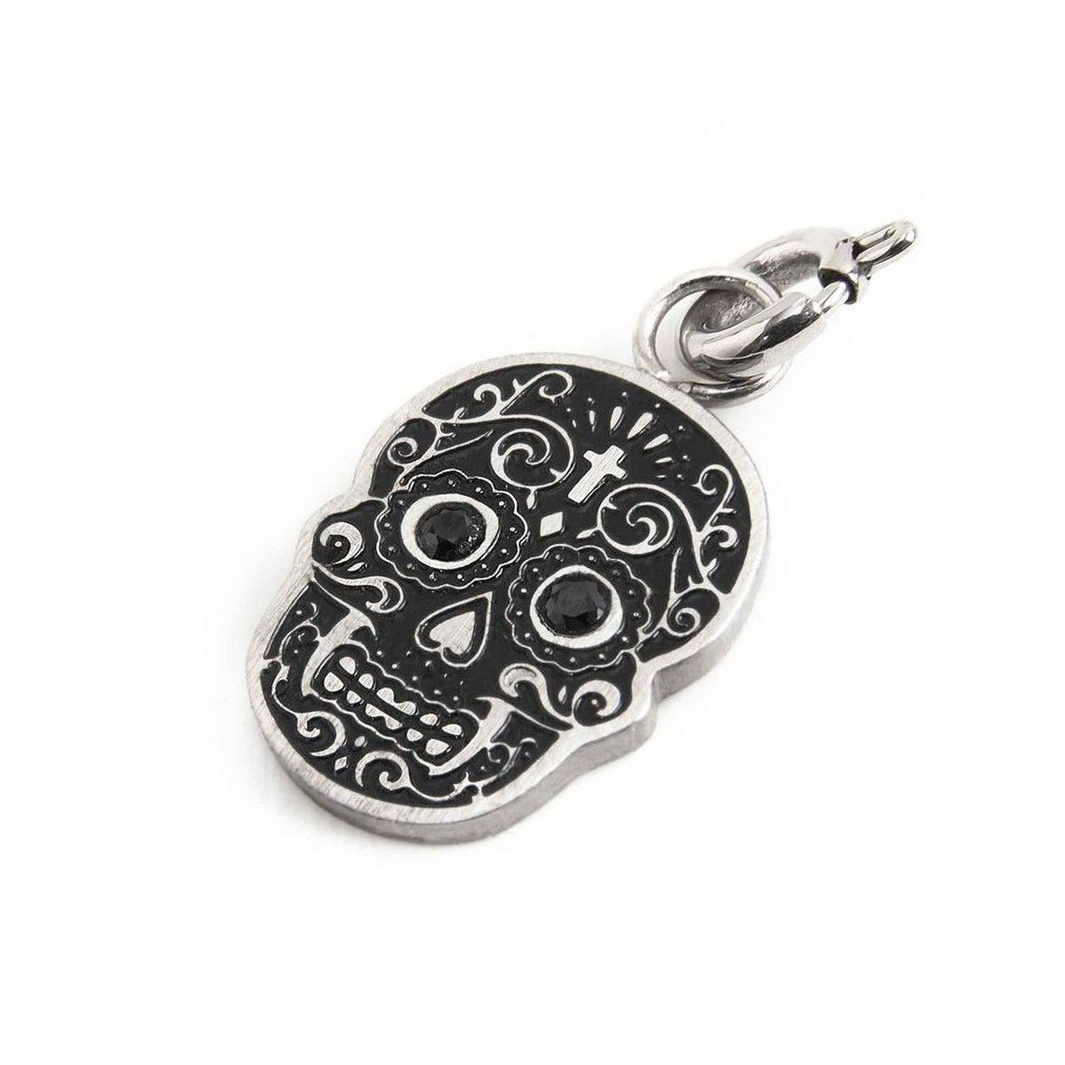Mexican skull charm in brushed steel Black Marlù