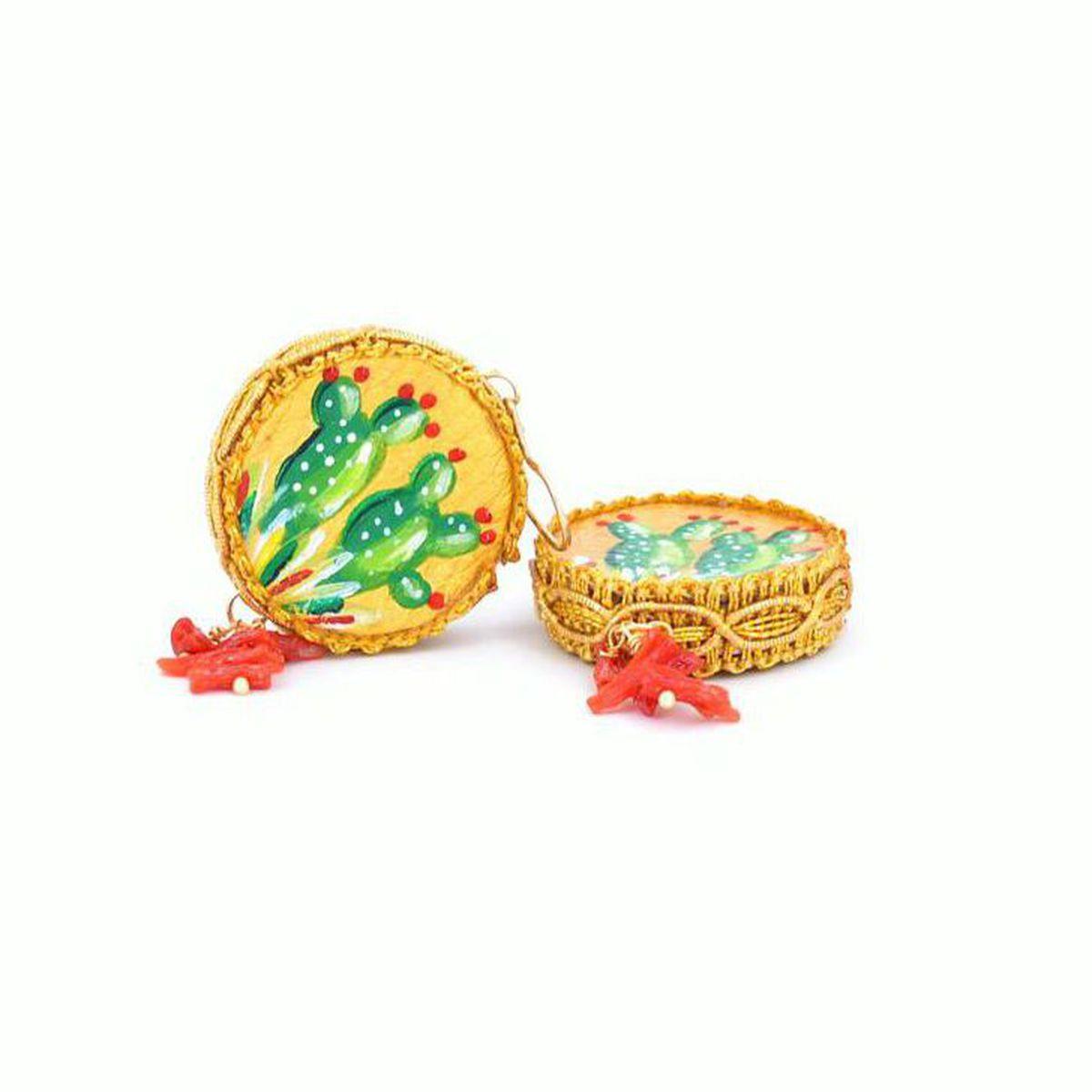 Tambourine leather earrings 25 mm Prickly Pear Green Tataratà Bijoux
