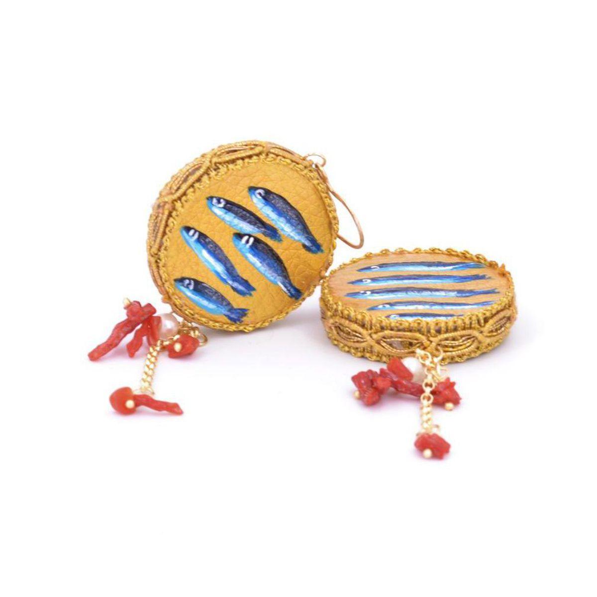 Sardine tambourine leather earrings 30 mm Blue Tataratà Bijoux