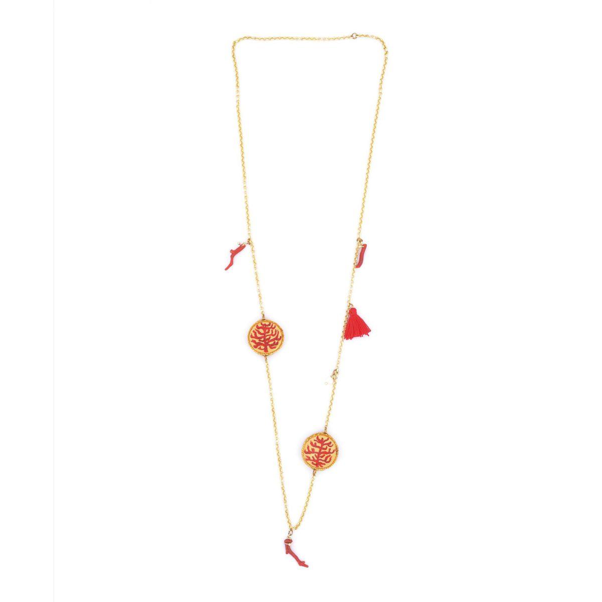 Chanel Tambourine Coral Necklace 18 mm Red Tataratà Bijoux