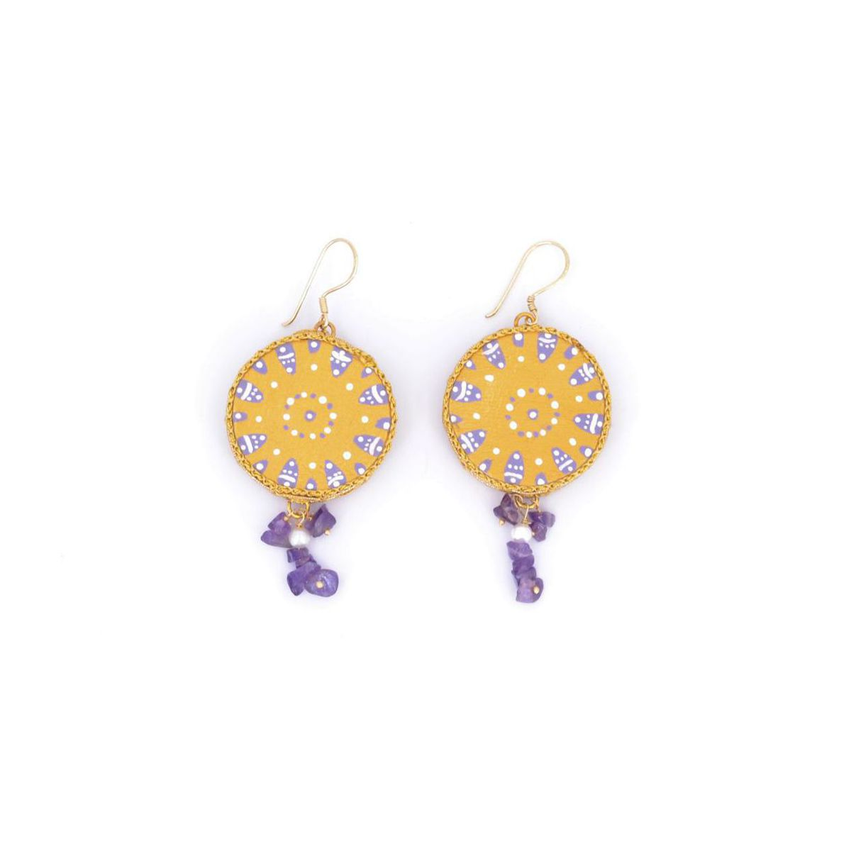 Tambourine Flowers Earrings 30 mm Purple Tataratà Bijoux