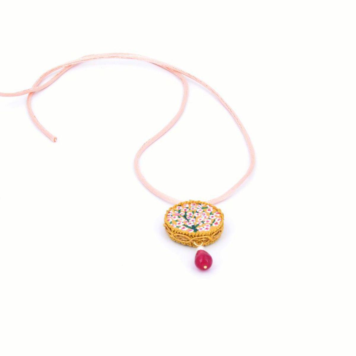 Tambourine Peach Blossom Pendant Rose Tataratà Bijoux