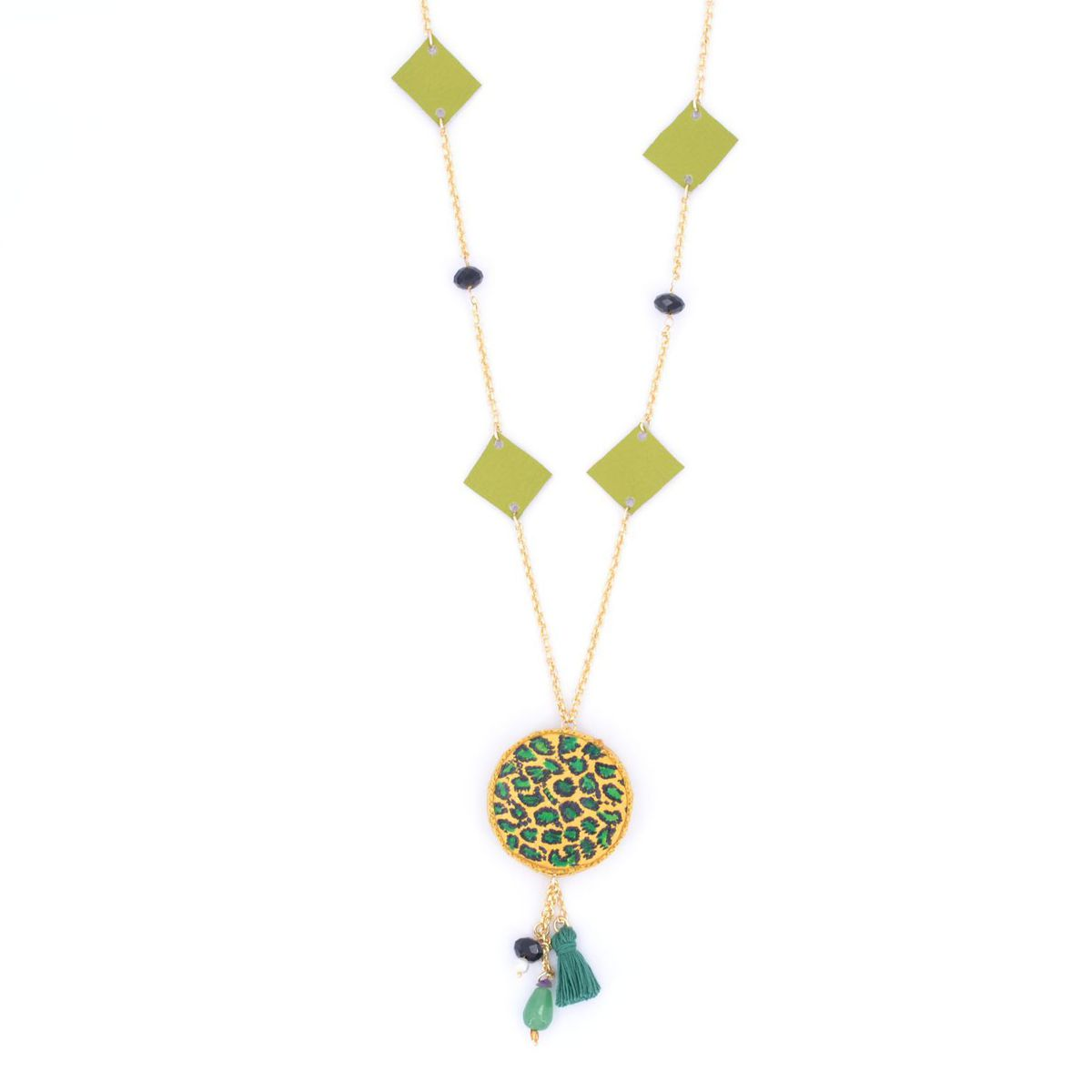 Green Zebra Jungle Necklace Green BRASS Gioielli
