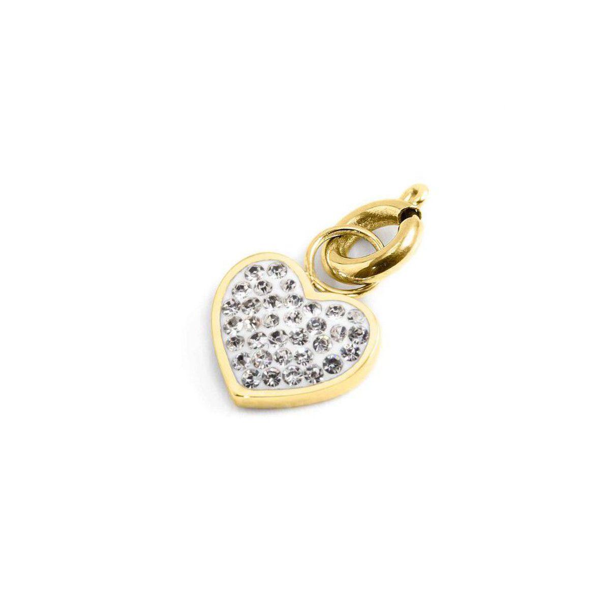 Rhinestone heart charm Gold Marlù