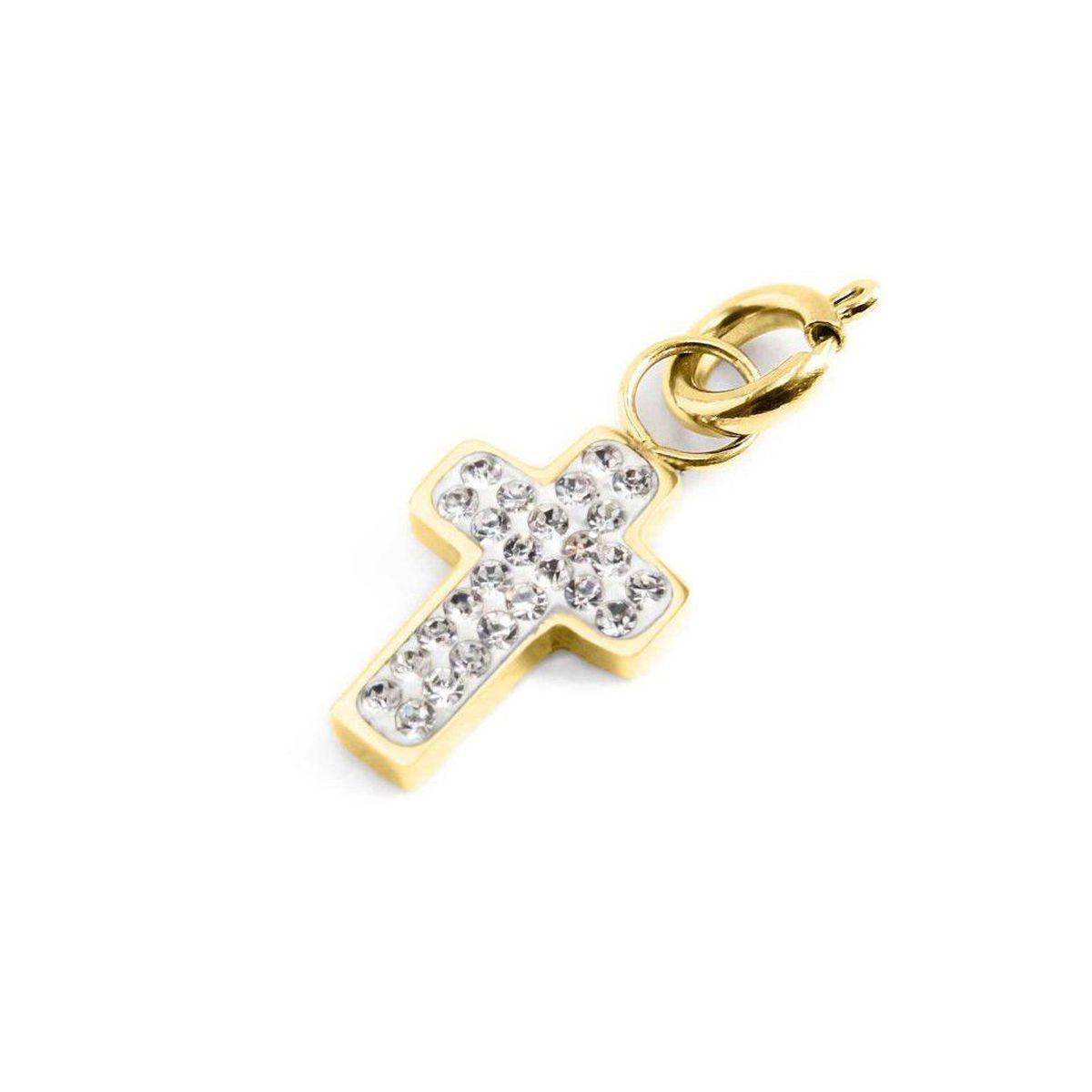 Rhinestone cross charm Gold Marlù