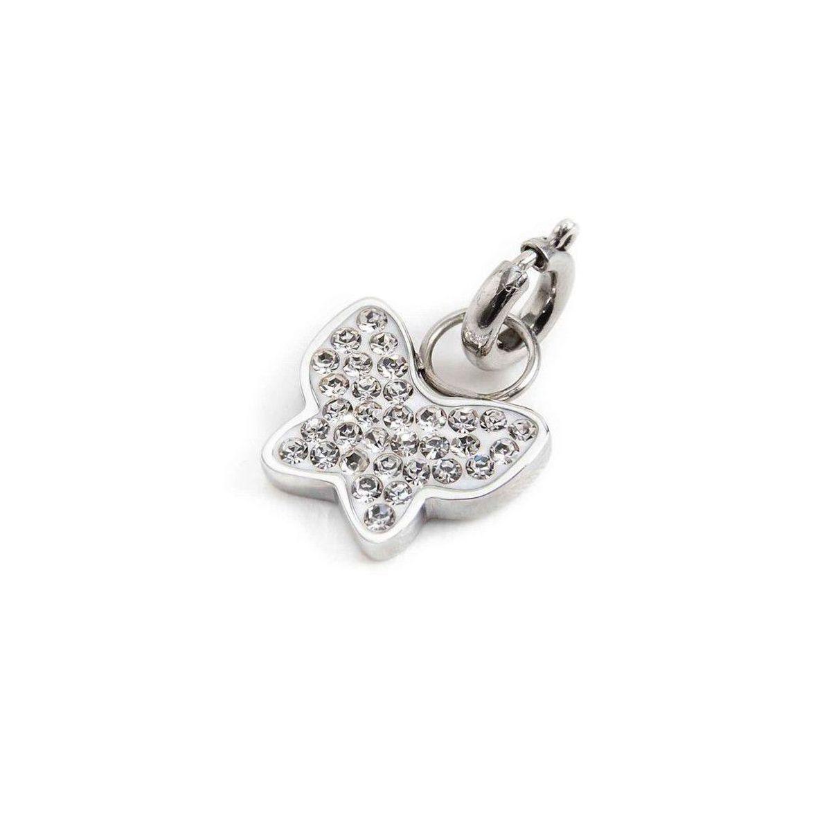 Rhinestone butterfly charm Steel Marlù