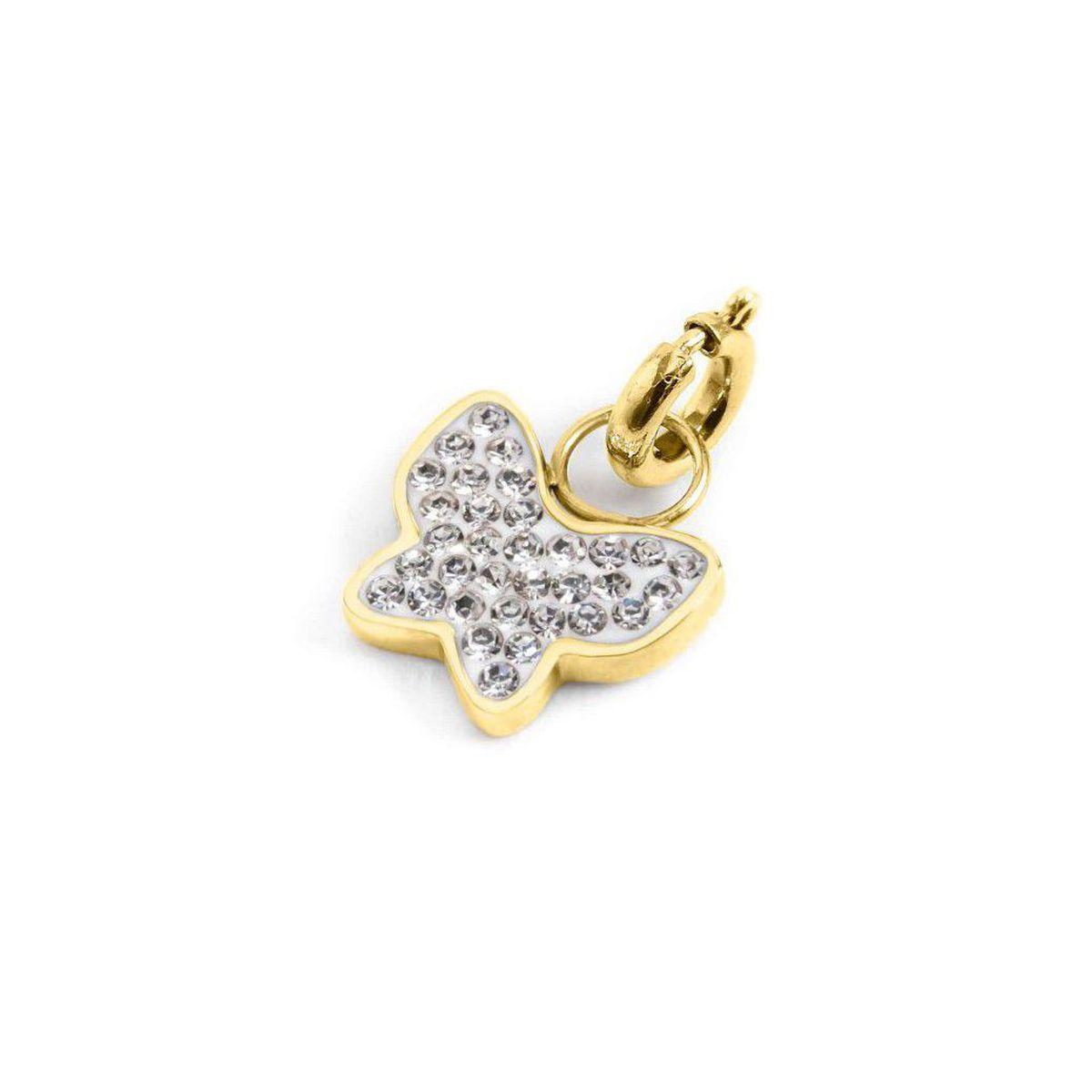 Rhinestone butterfly charm Gold Marlù