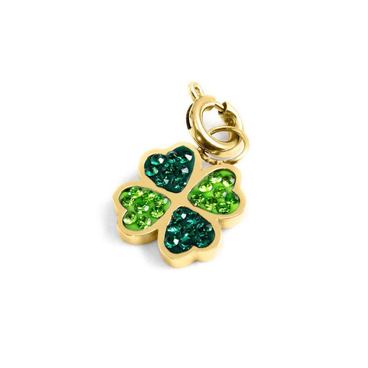 Four-leaf clover green rhinestone charm Gold Marlù