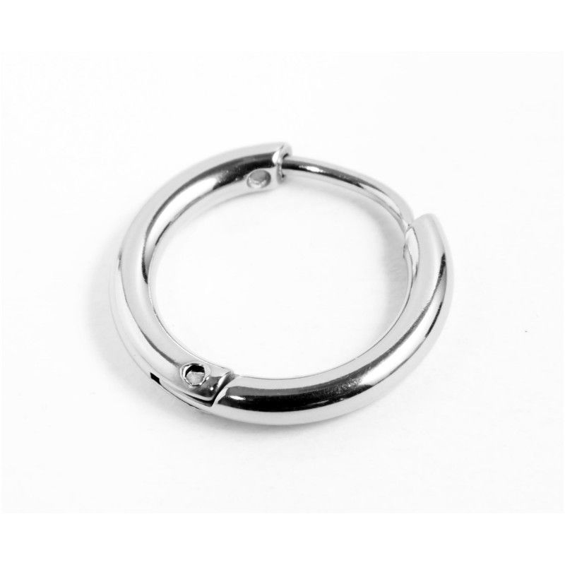 Single earring circle 16mm Steel Marlù