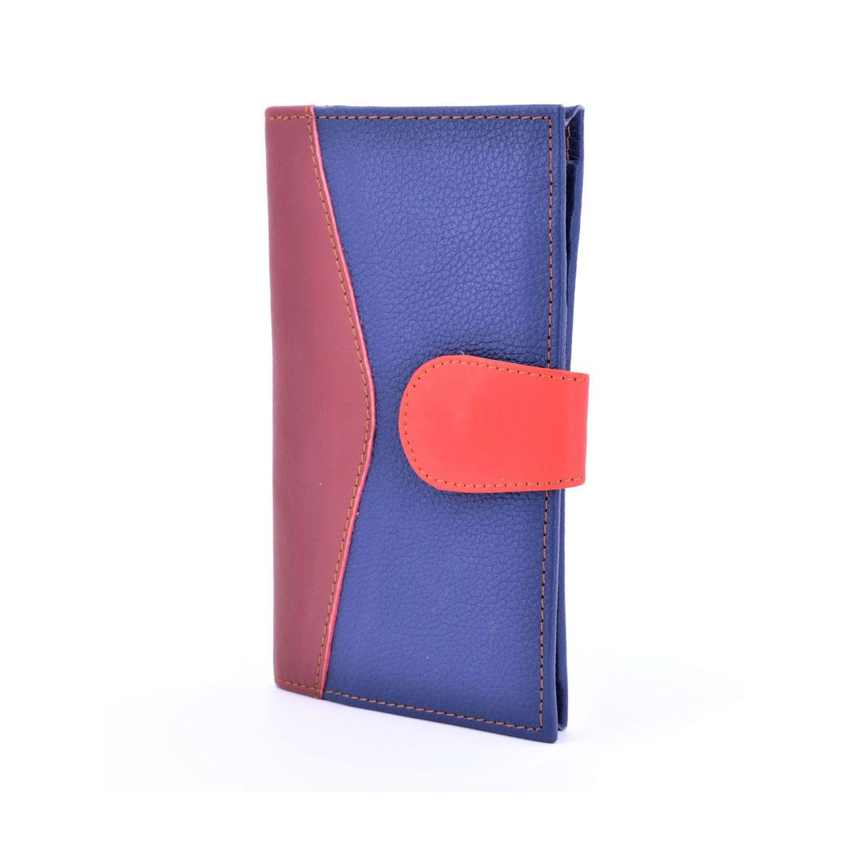 Colors wallet blue recycled leather Bordeaux BRASS Workshop