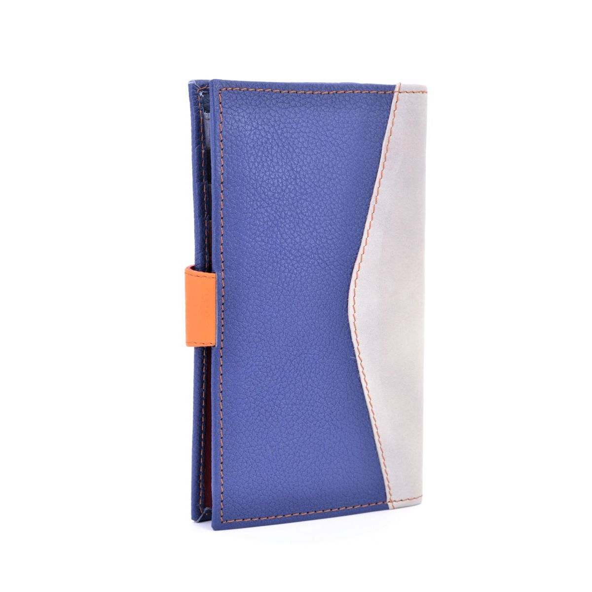 Colors wallet blue recycled leather Grey BRASS Workshop