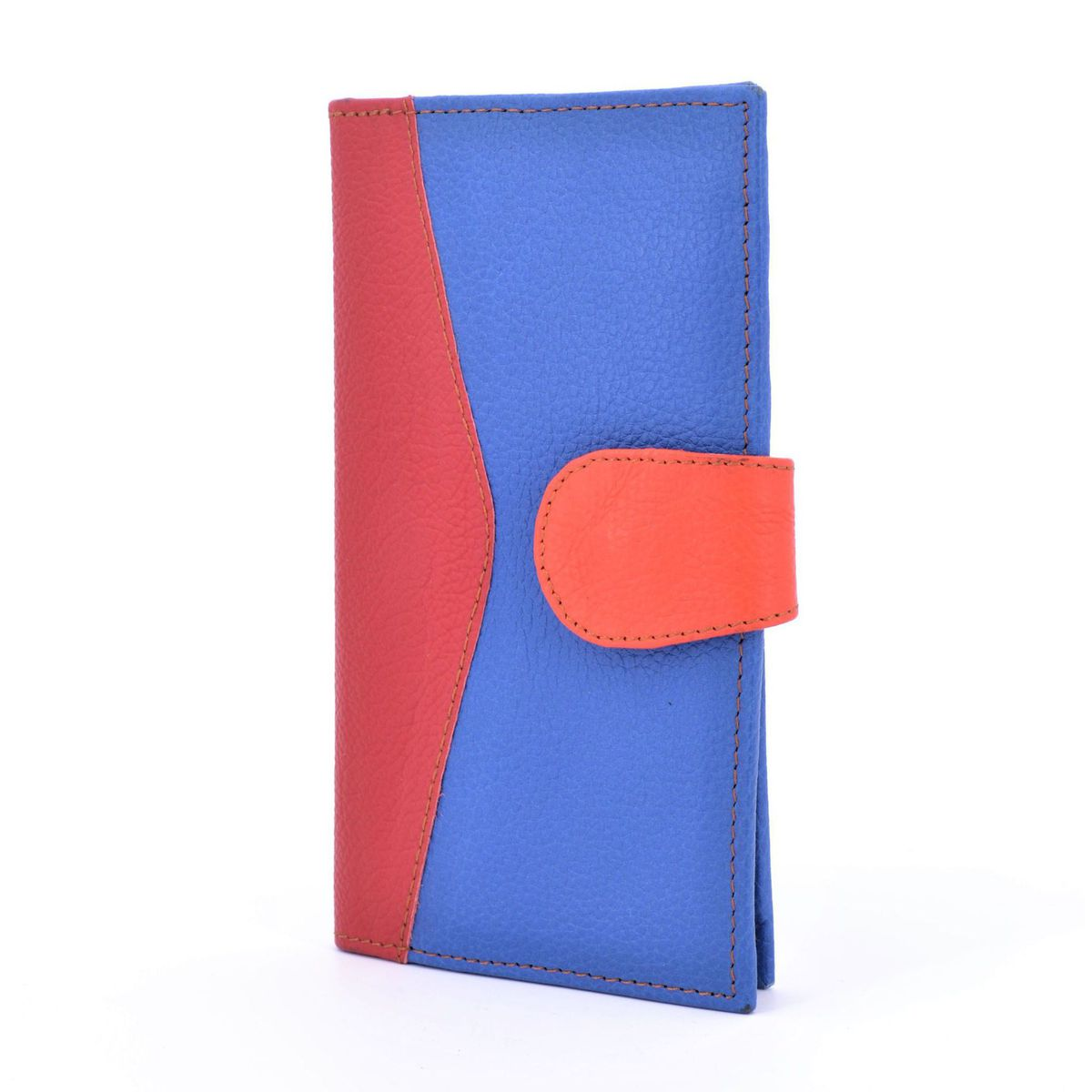 Colors wallet blue recycled leather Red BRASS Workshop