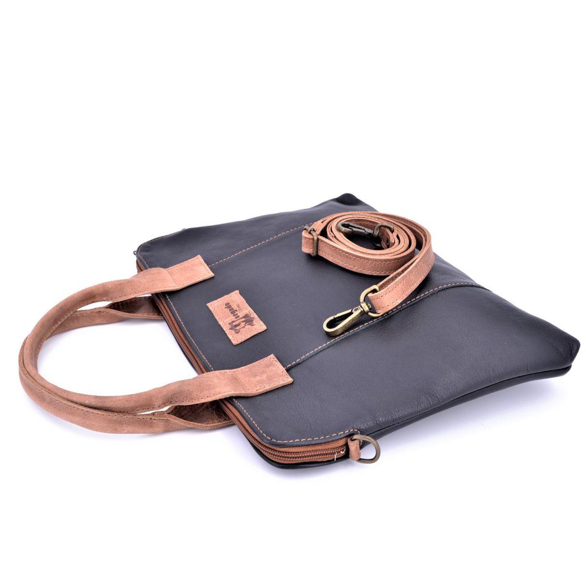 Black leather / leather bag Black BRASS Workshop