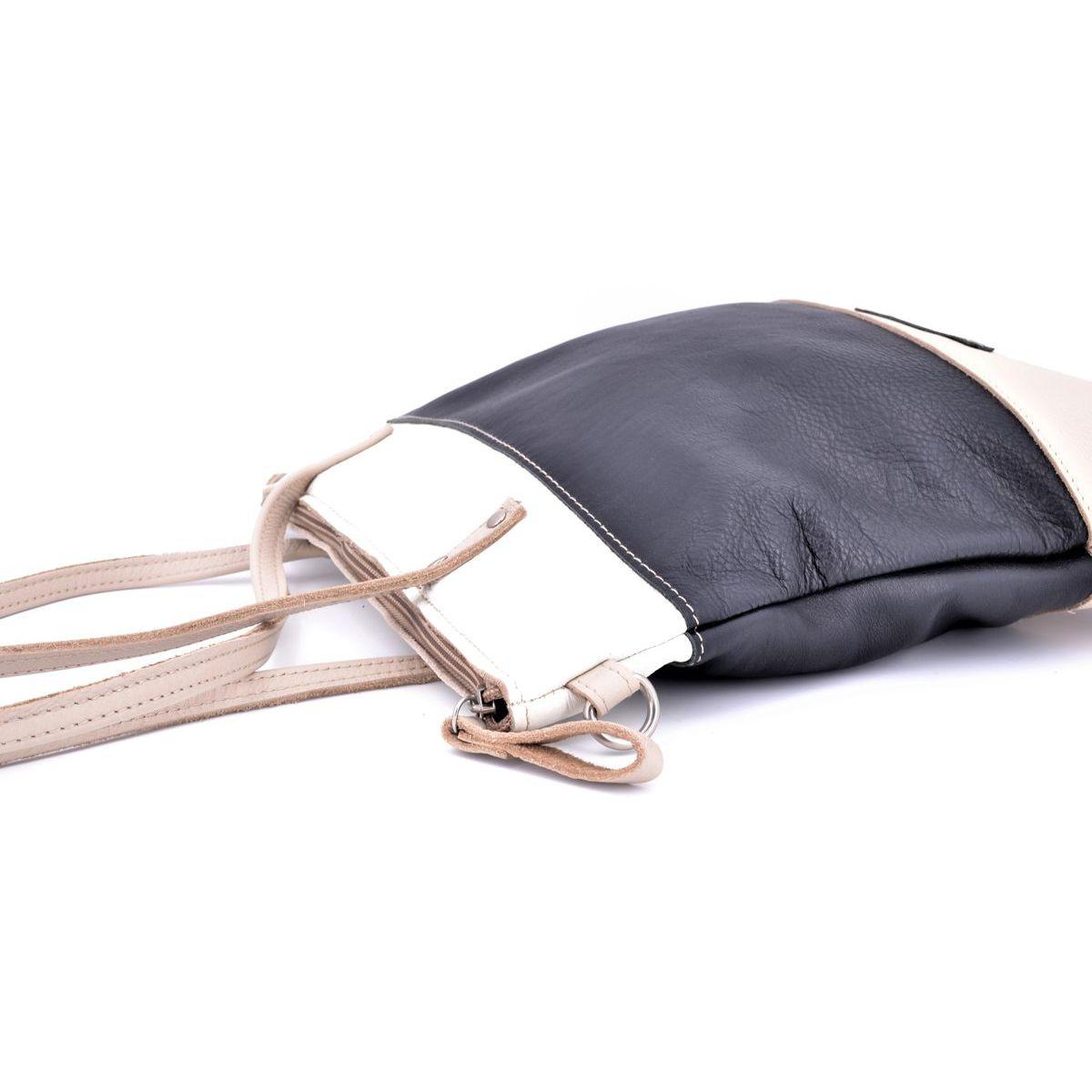 3 colors leather bag with shoulder strap Black BRASS Workshop