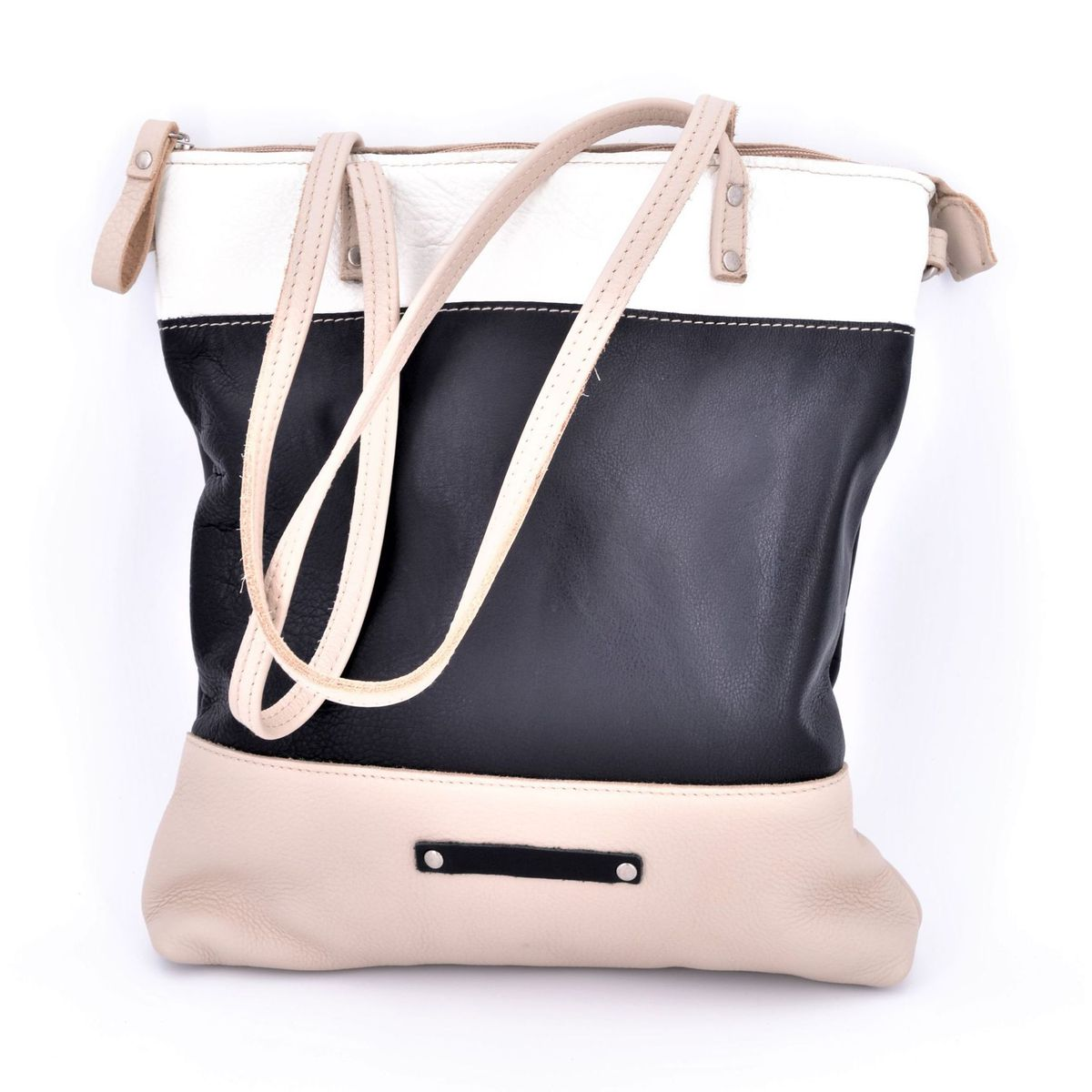 3 colors leather bag with shoulder strap Black BRASS Workshop