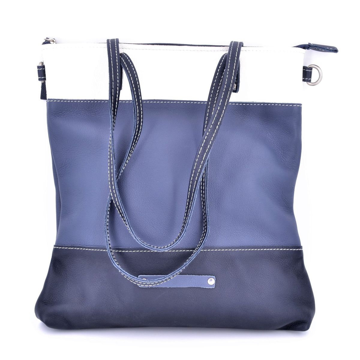 3 colors leather bag with shoulder strap 2 Blue BRASS Workshop