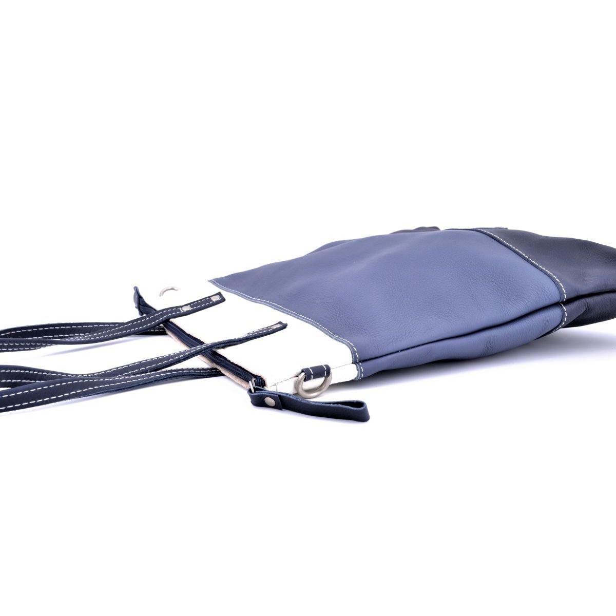 3 colors leather bag with shoulder strap 2 Blue BRASS Workshop