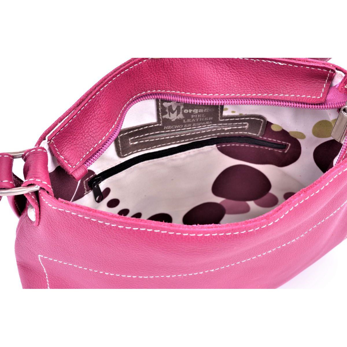 Morgado leather bag with shoulder strap Fuchsia BRASS Workshop