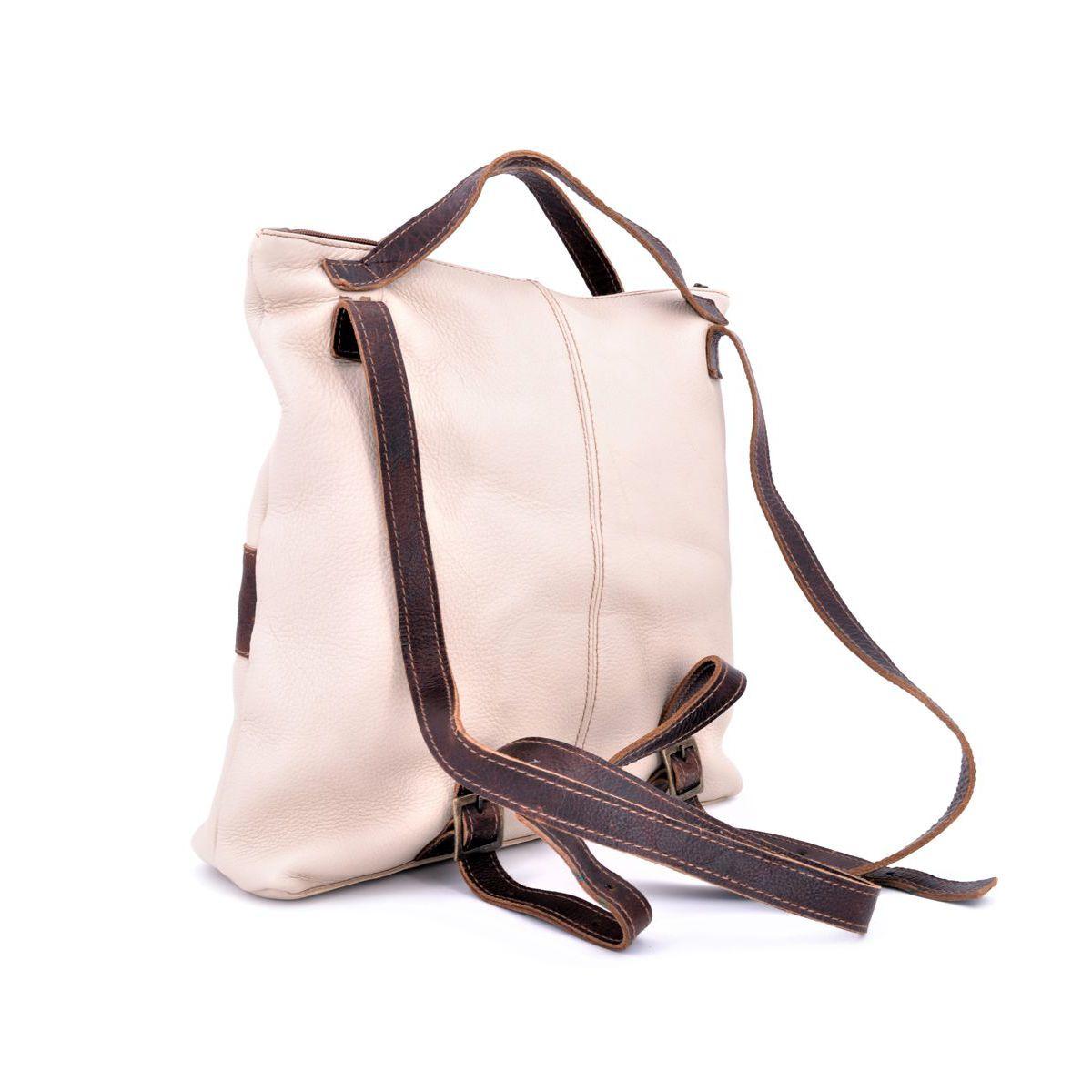 Morgado leather backpack Beige BRASS Workshop