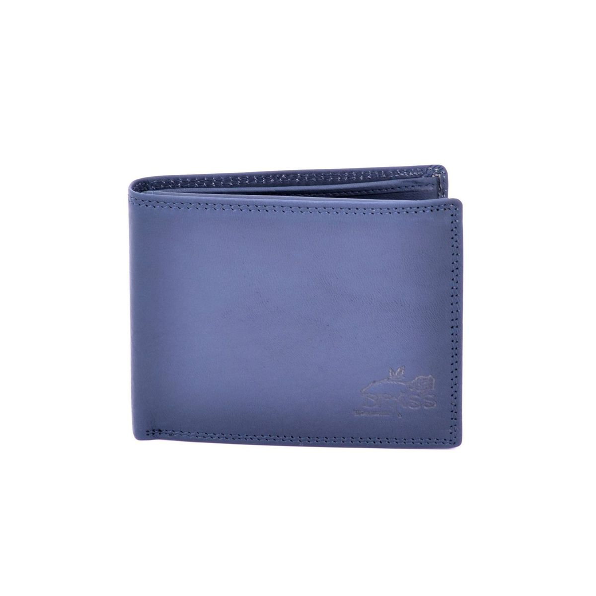 Double stitched leather wallet Blue BRASS Workshop