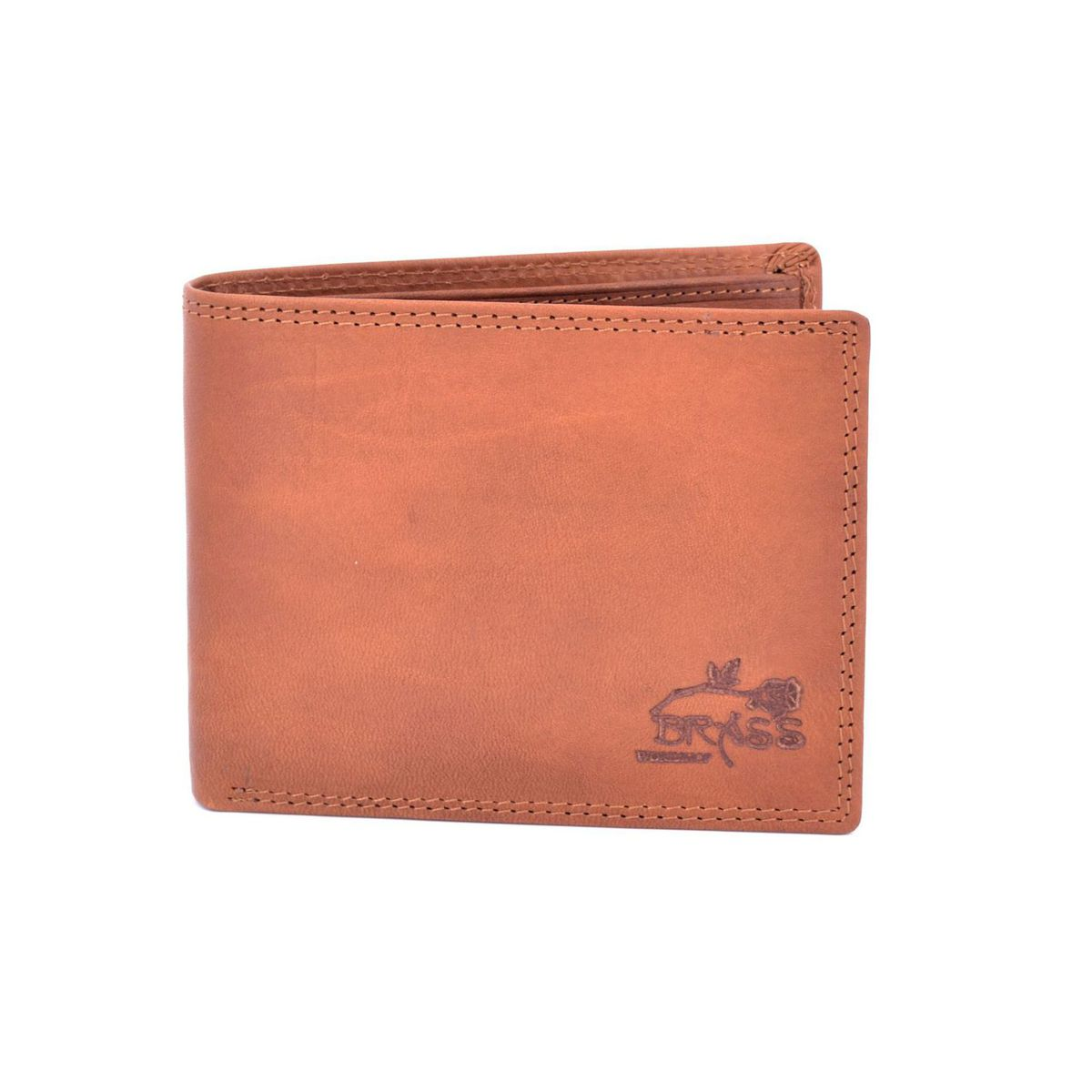 Double stitched leather wallet Brown BRASS Workshop