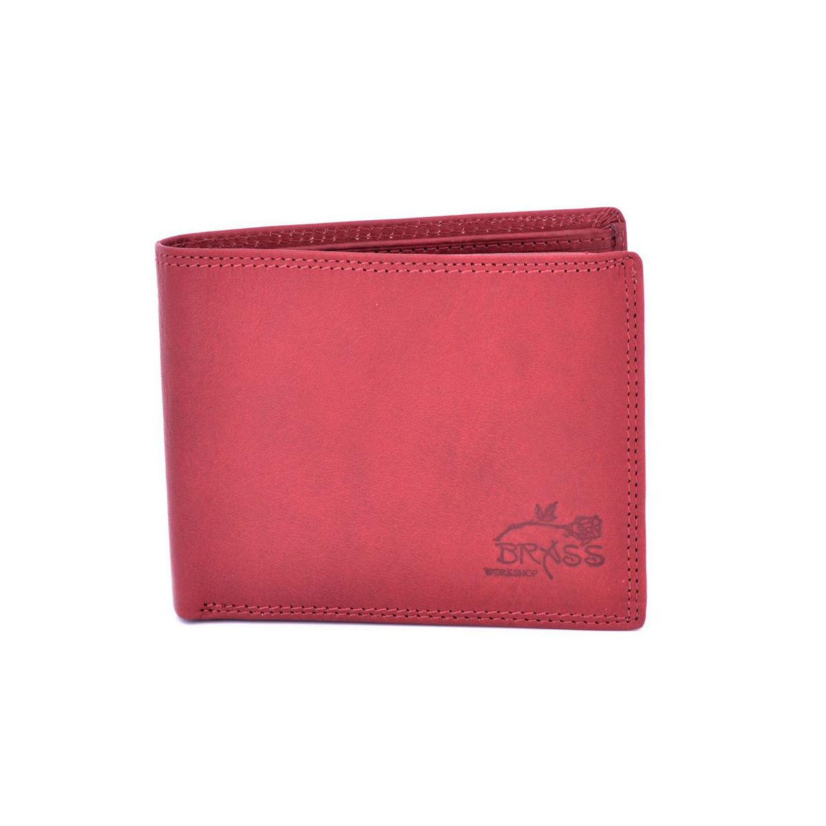 Double stitched leather wallet Red BRASS Workshop