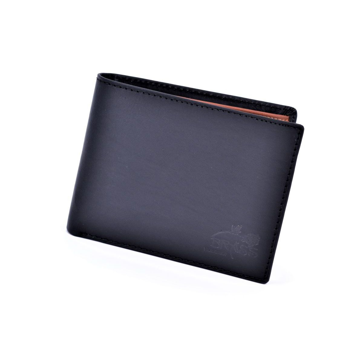 Double color leather wallet Black BRASS Workshop
