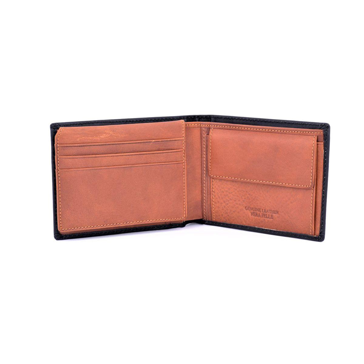 Double color leather wallet Black BRASS Workshop