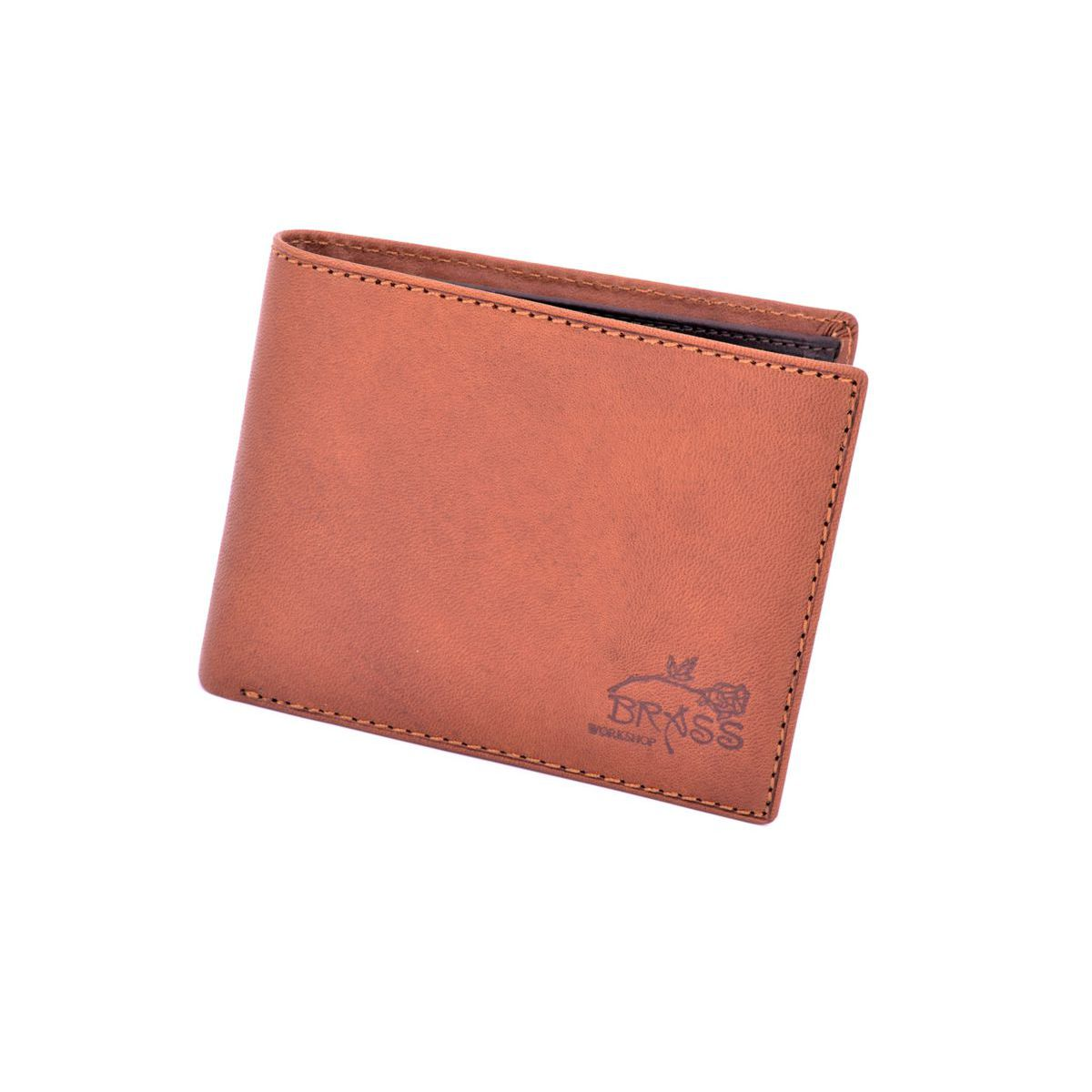 Double color leather wallet Brown BRASS Workshop