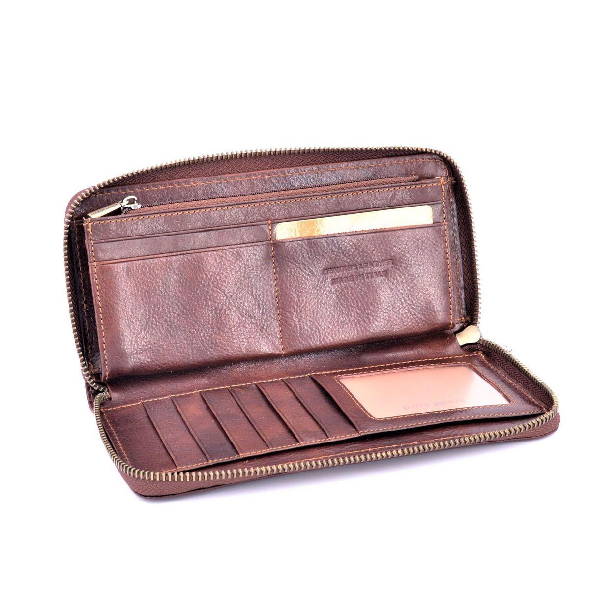 Calfskin wallet with zip Brown BRASS Workshop