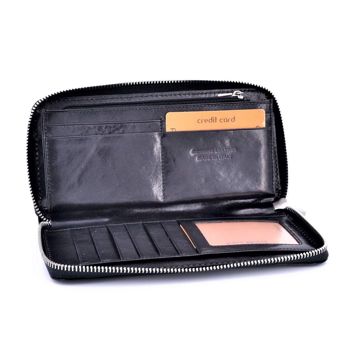 Calfskin wallet with zip Black BRASS Workshop
