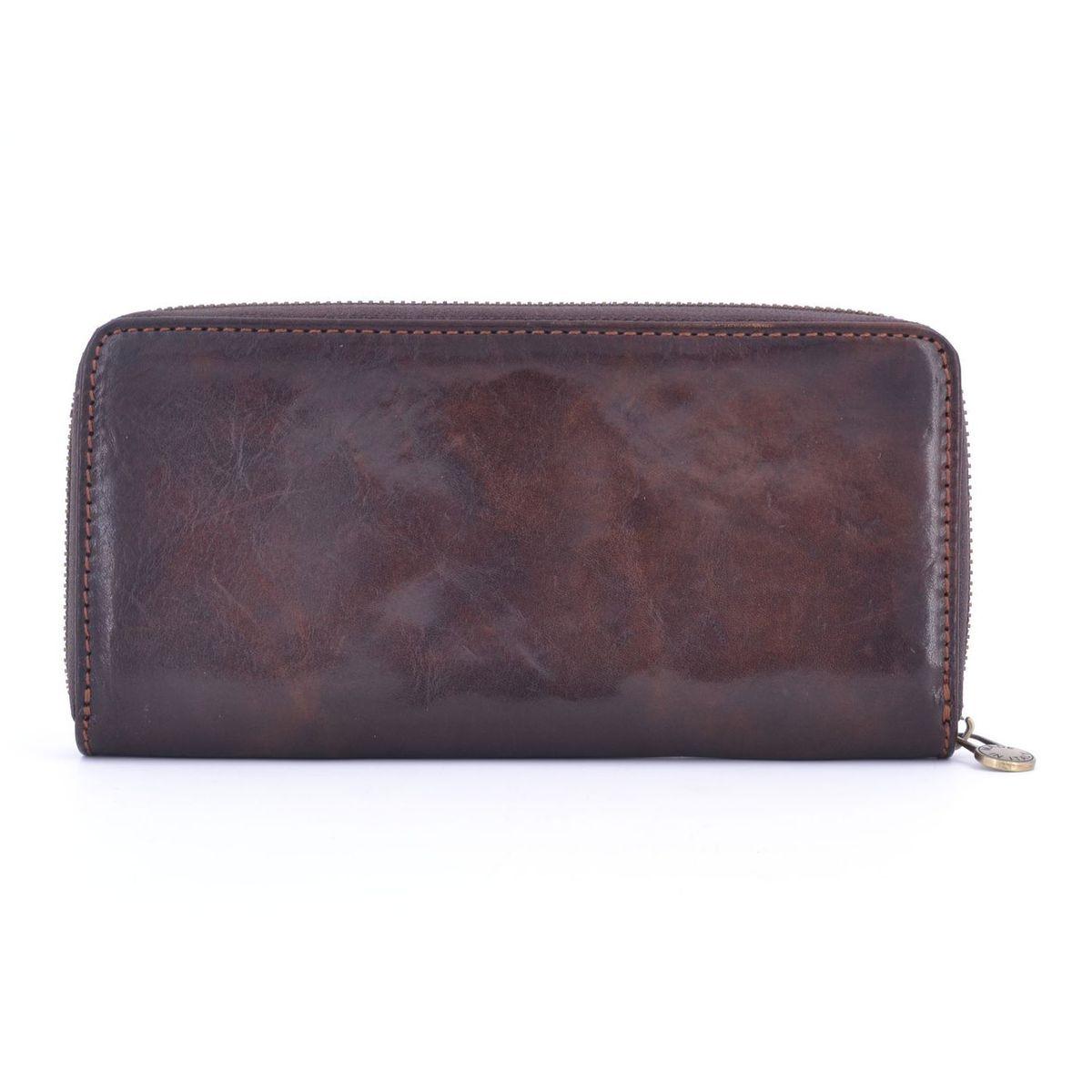 Calfskin wallet with zip Dark brown BRASS Workshop