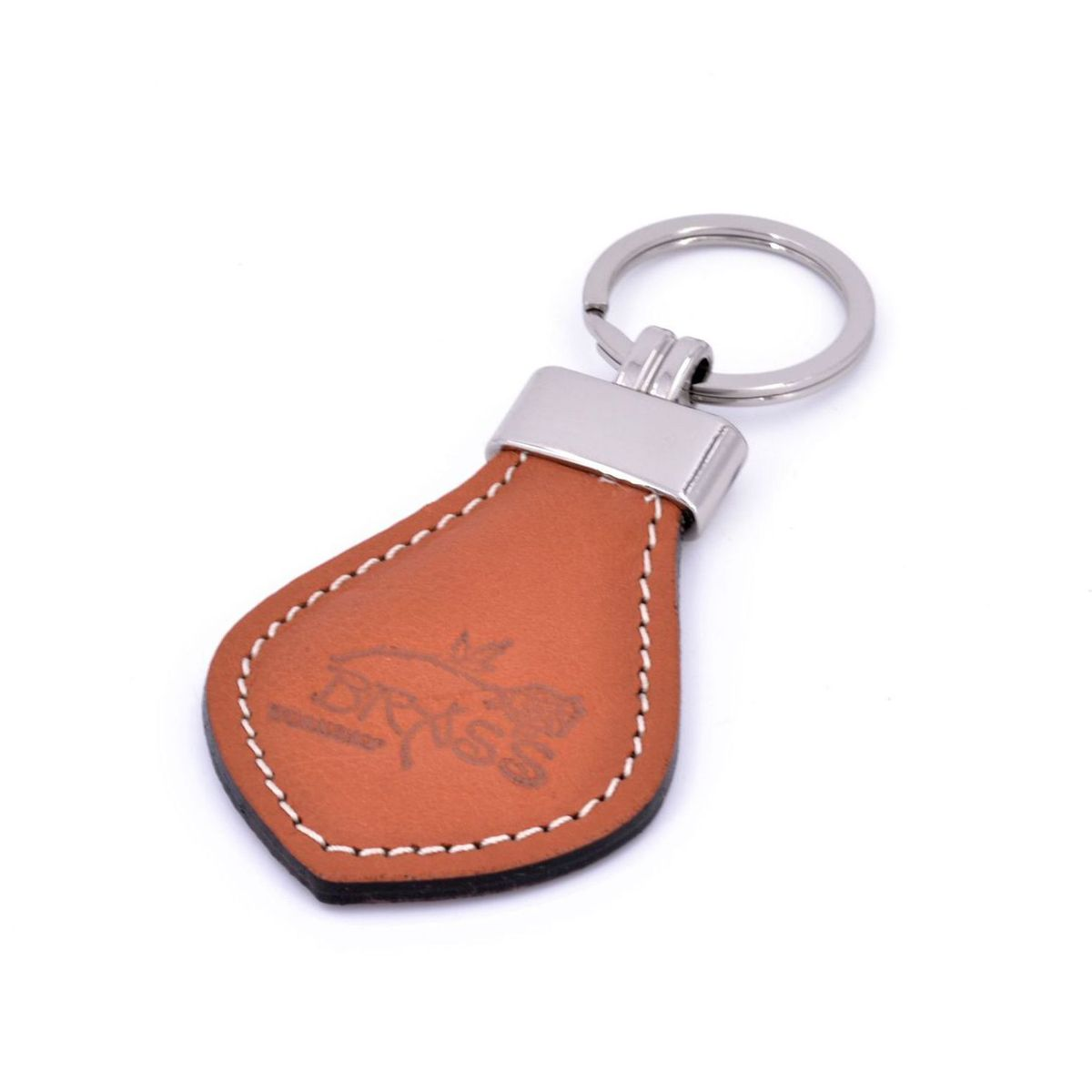 Keychain leather man Brown BRASS Workshop