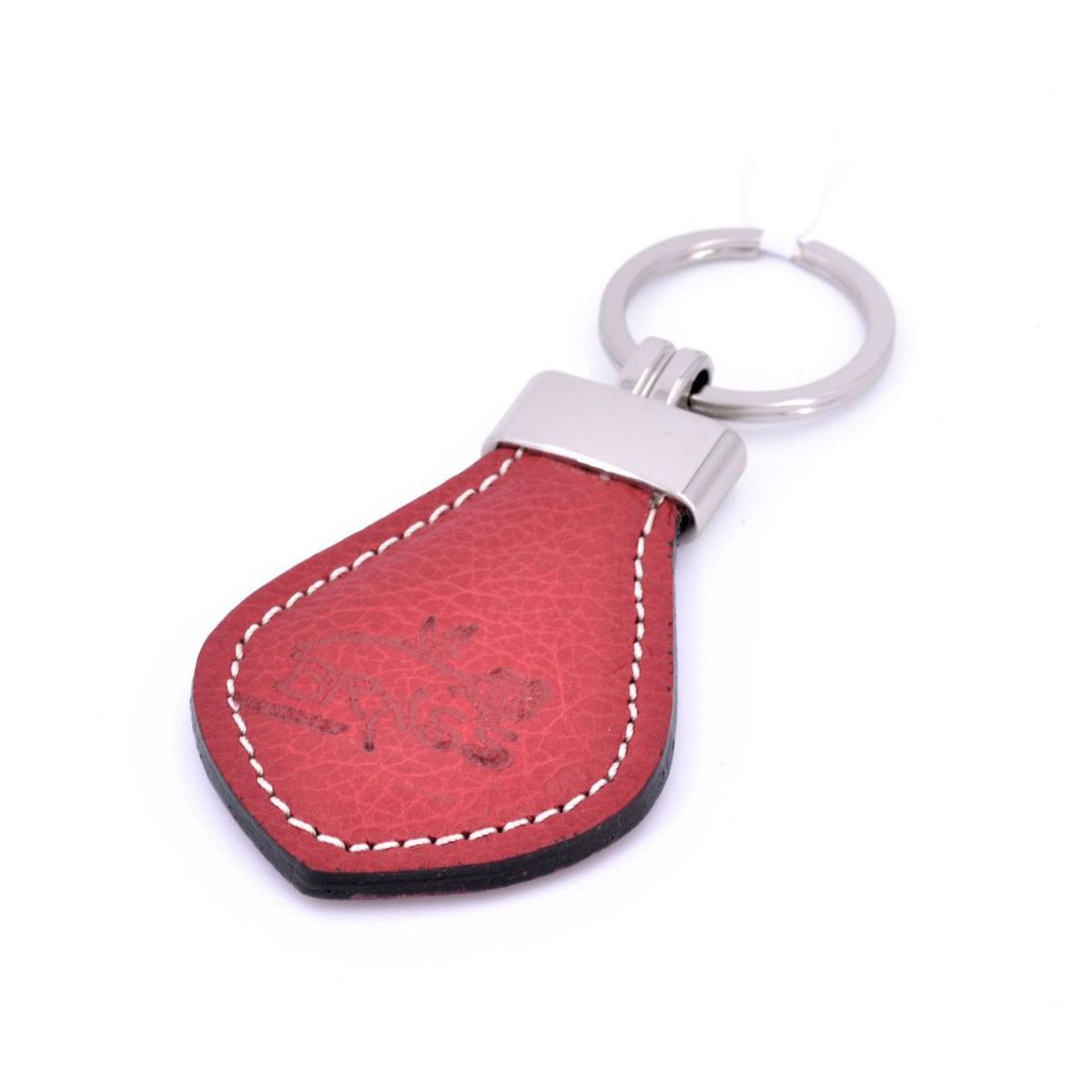 Keychain leather man Red BRASS Workshop