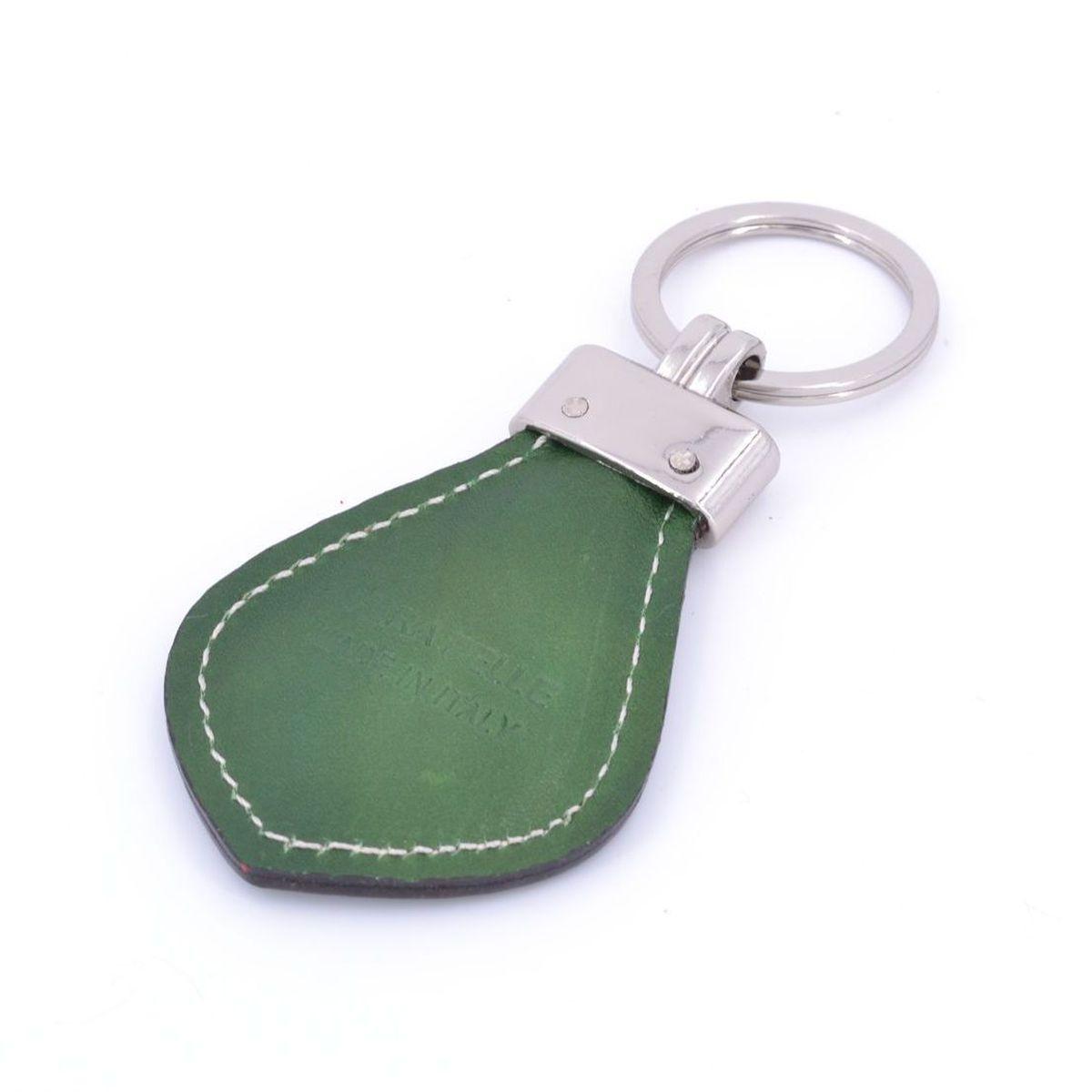 Keychain leather man Green BRASS Workshop