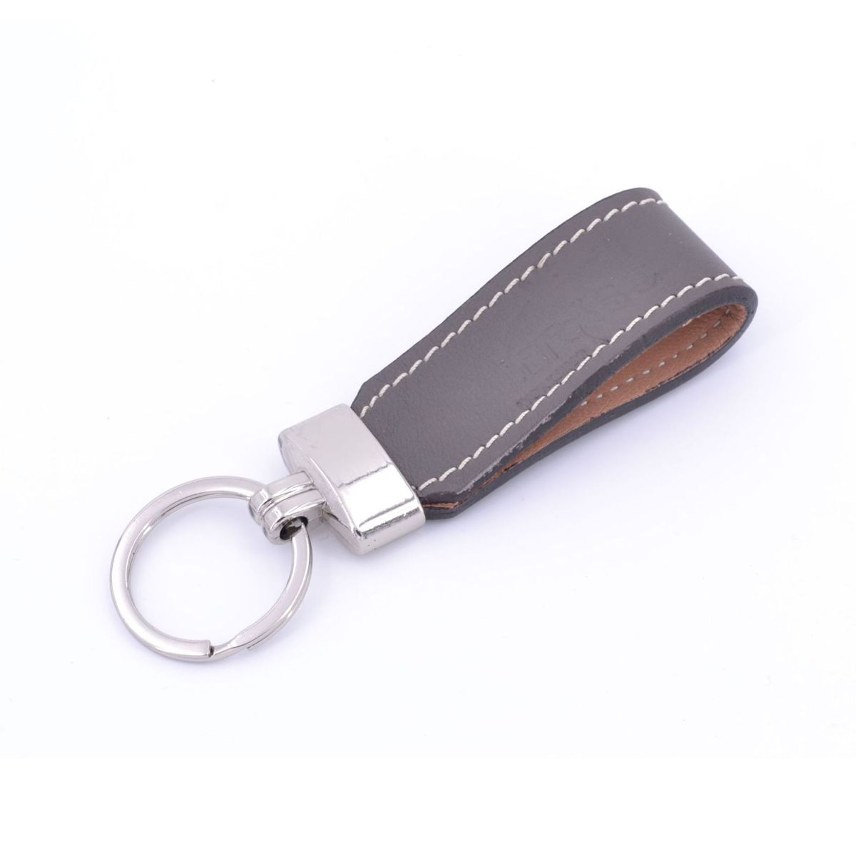 Key ring in leather strap Grey BRASS Workshop
