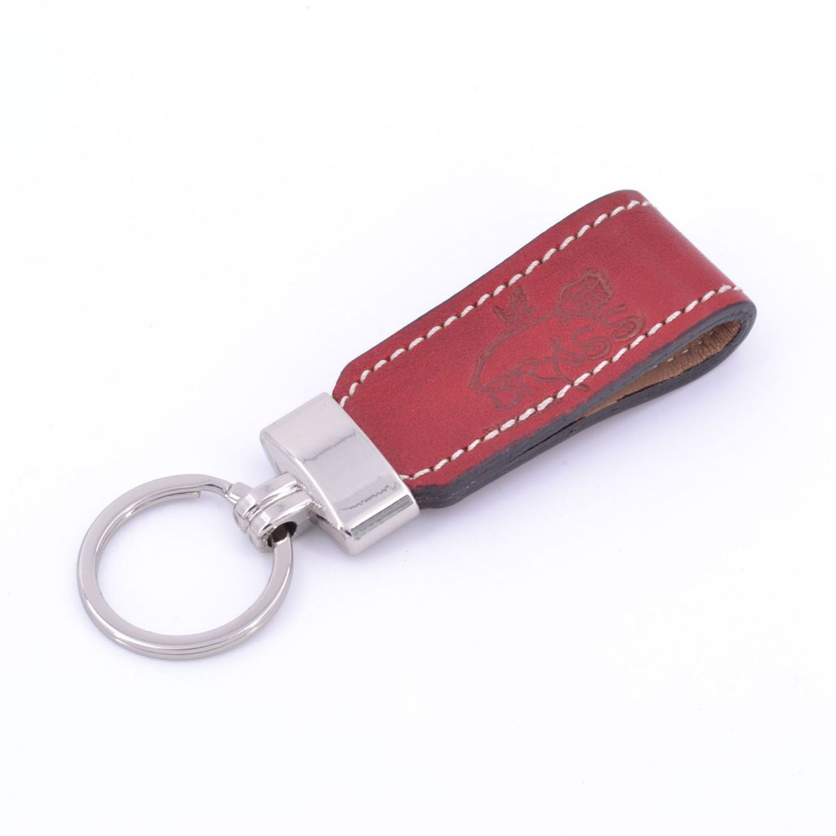Key ring in leather strap Red BRASS Workshop