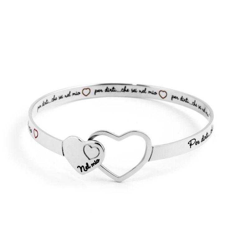 """Rigid bracelet """"in my heart"""" Steel Marlù"""