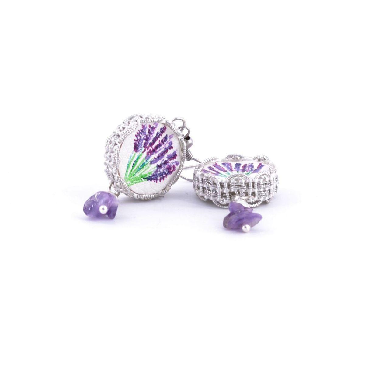 Tambourine Lavender Mum Earrings Violet Tataratà Bijoux