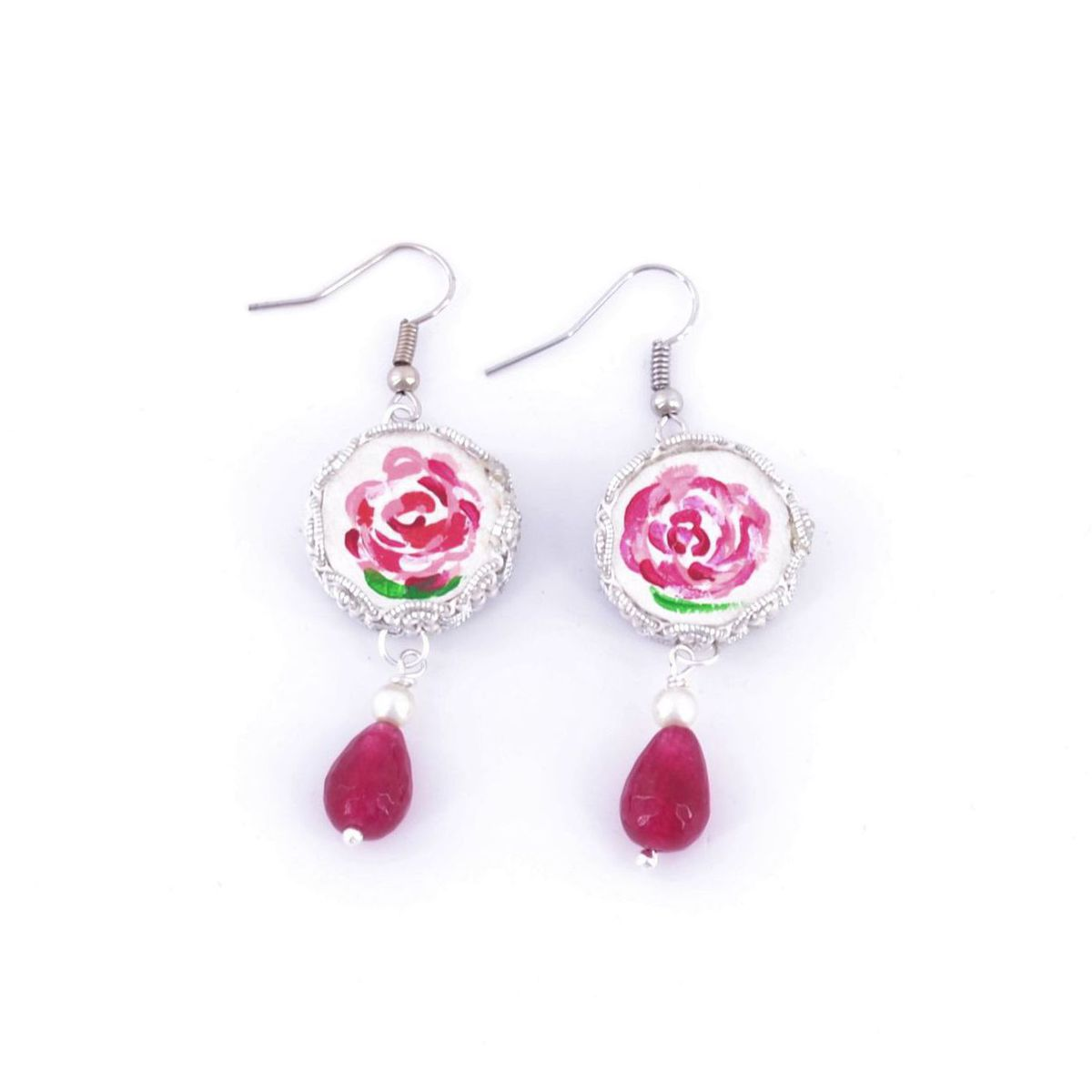 Tambourine Rose Mamma Earrings Red BRASS Gioielli