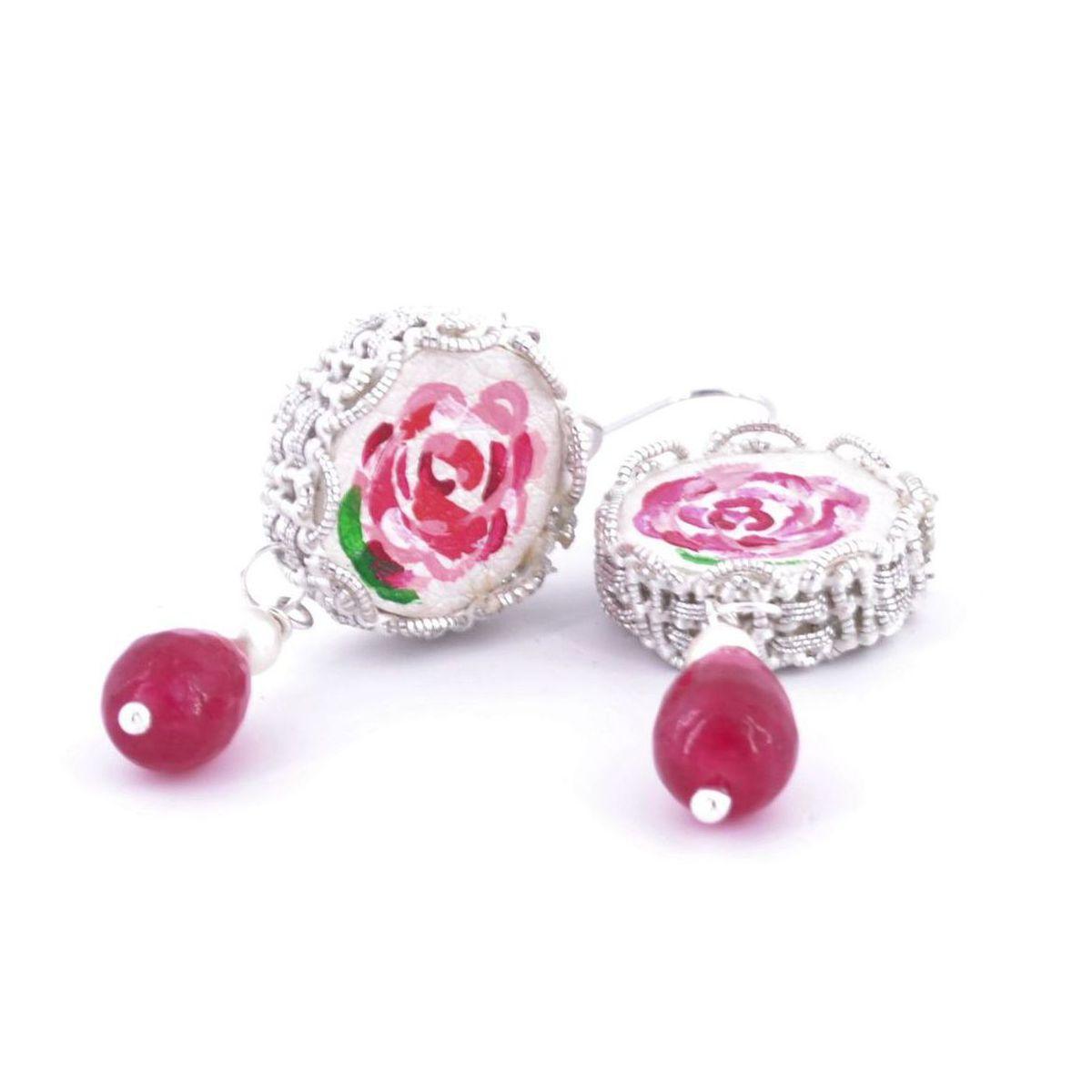 Tambourine Rose Mamma Earrings Red Tataratà Bijoux